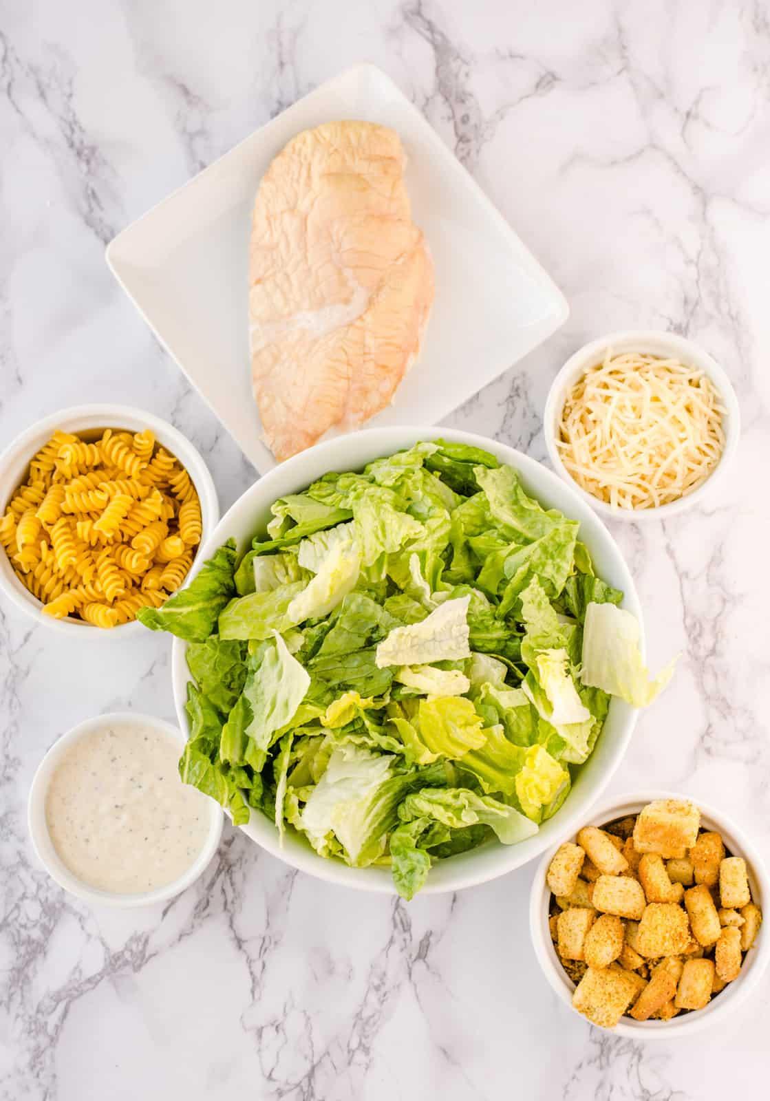 Ingredients needed to make Caesar Pasta Salad