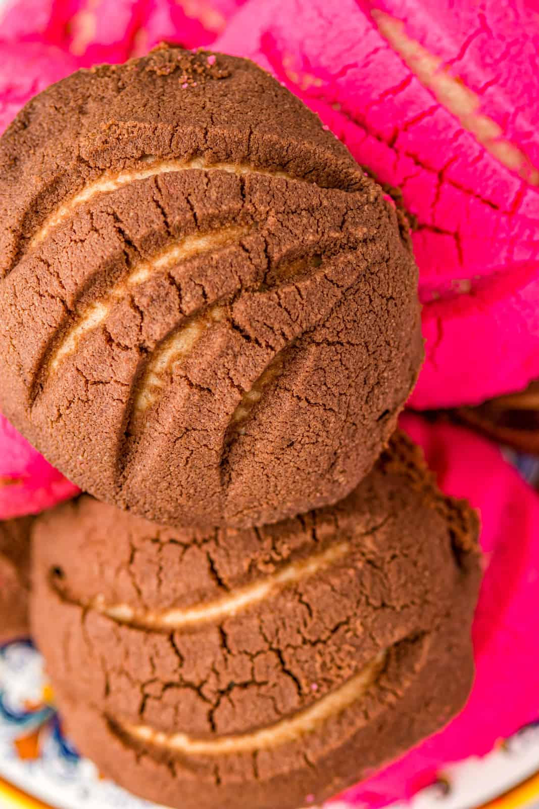 Close up of stacked Conchas showing design