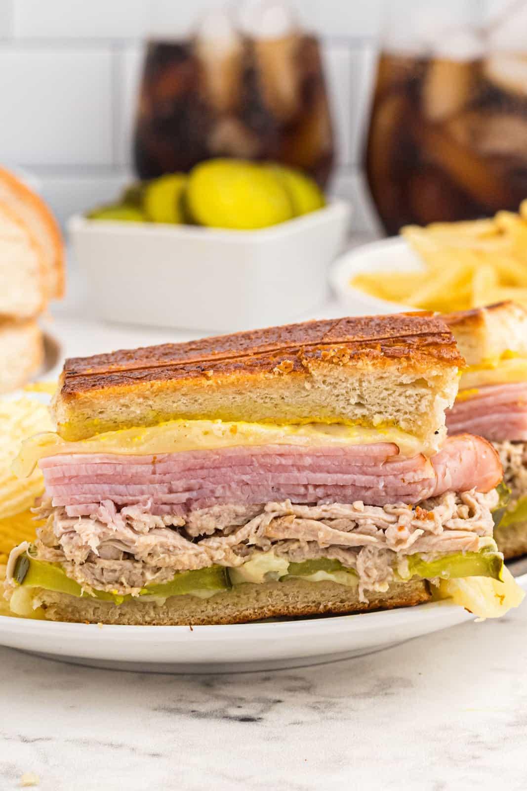 Cut Cuban Sandwich Recipe on plate