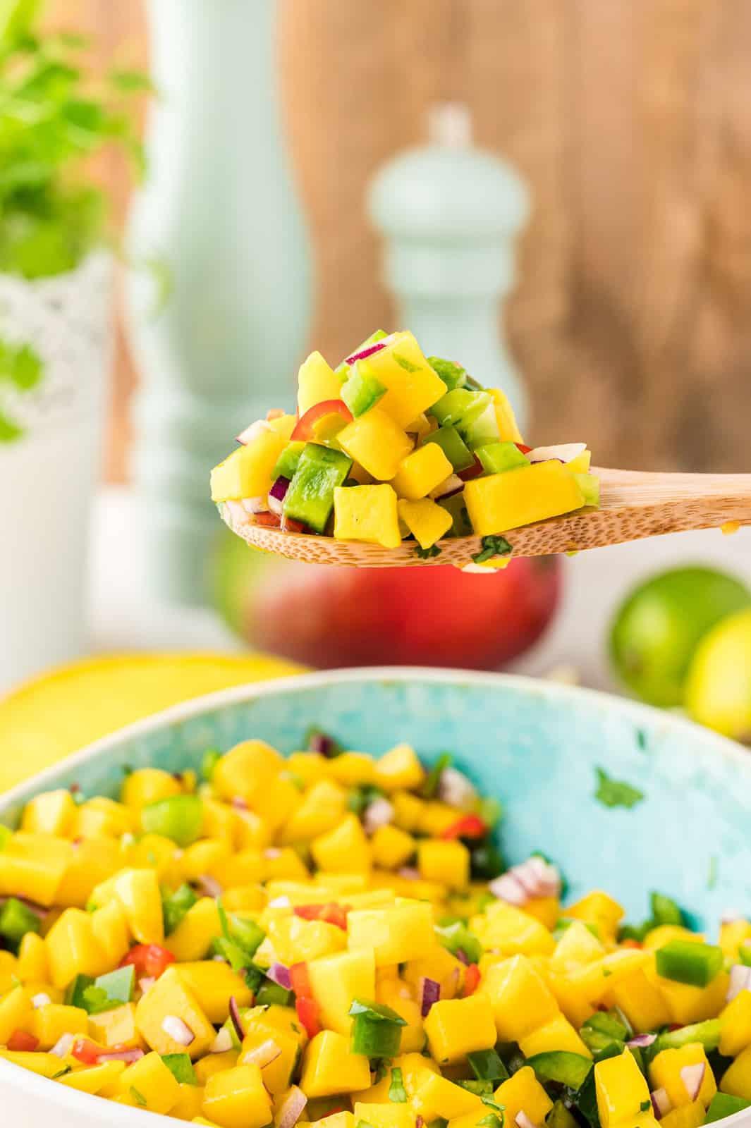 Mango Salsa on spoon
