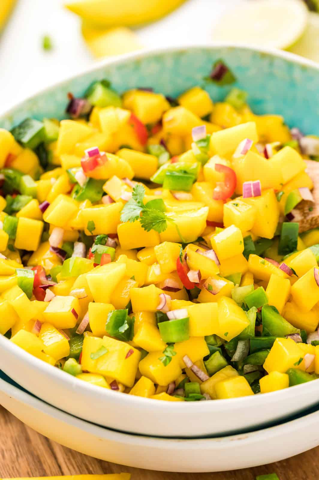 Close up of Mango Salsa in bowl