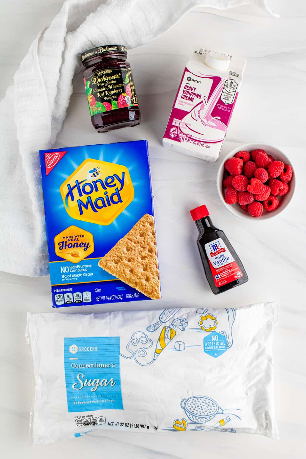 Ingredients need to make a Raspberry Icebox Cake