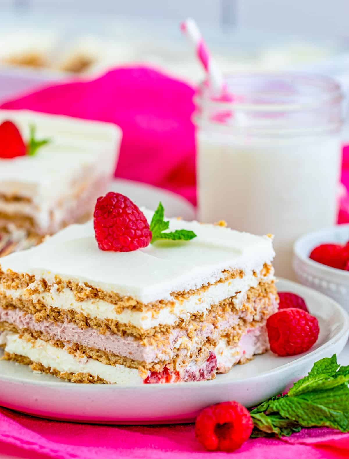 Close up side view of one slice of Raspberry Icebox Cake