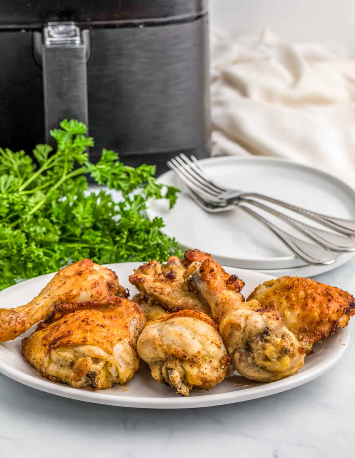 Finished chicken on white plate with air fryer in background