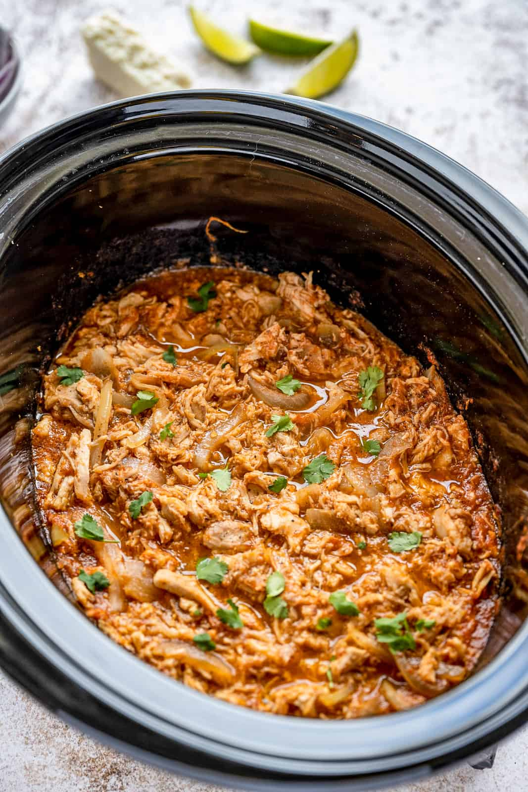 Finished Chicken Tinga in slow cooker
