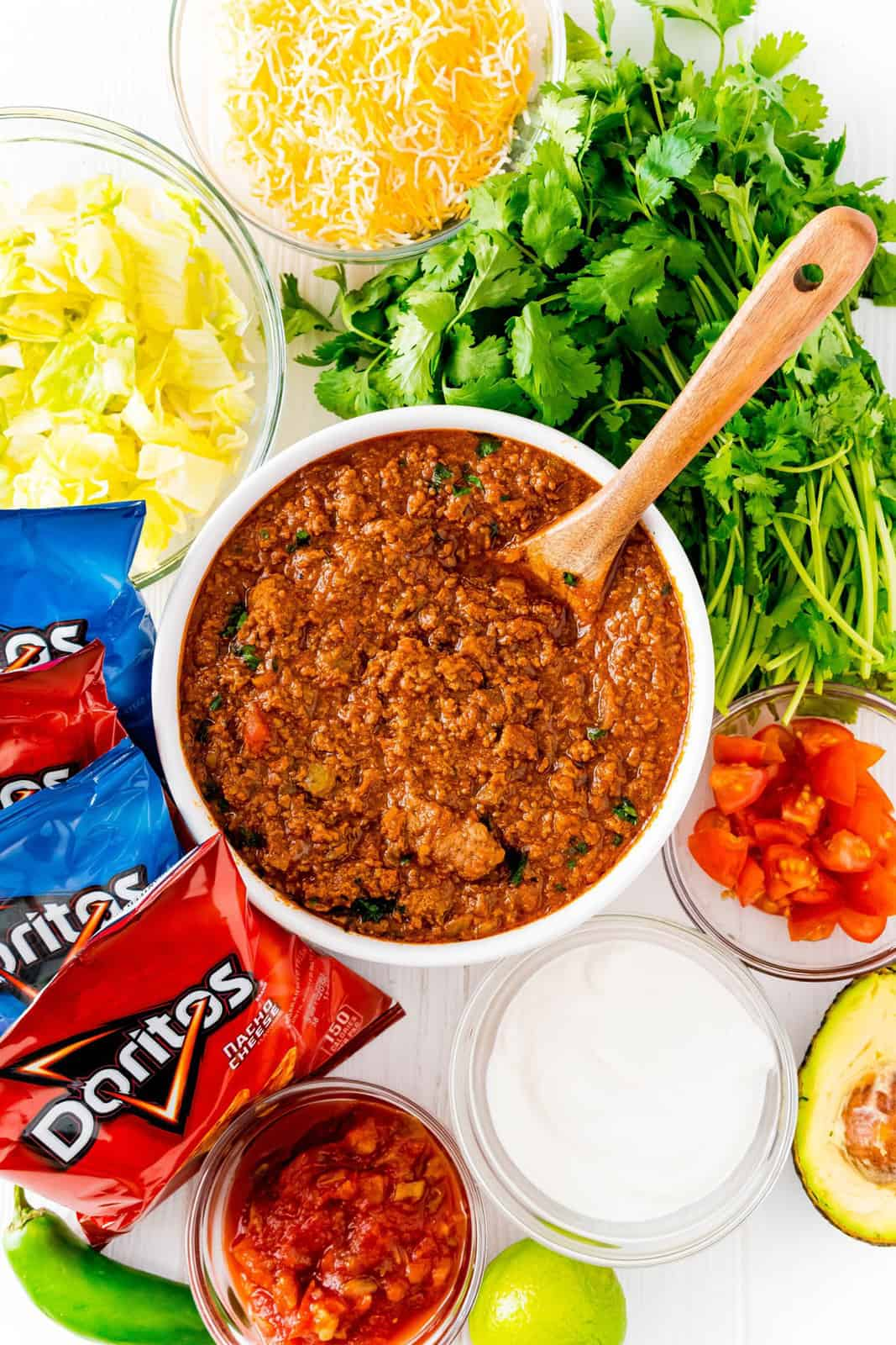 Ingredients needed to make Walking Tacos