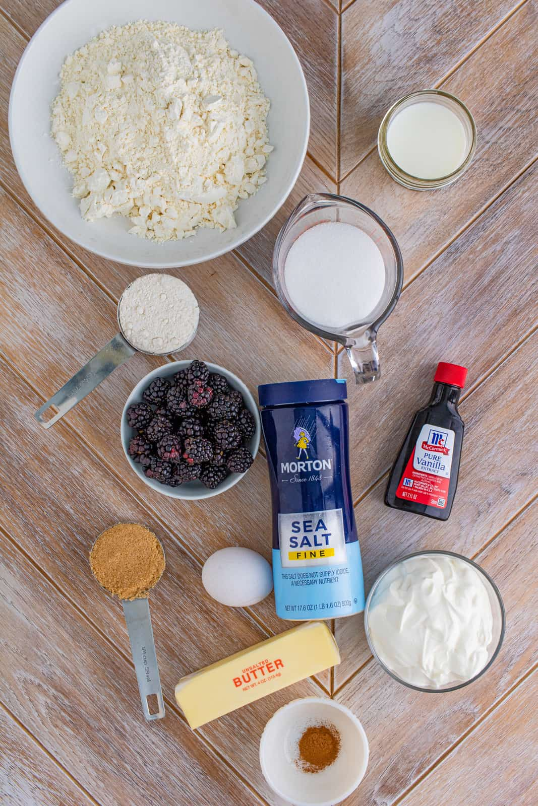 Ingredients needed to make Blackberry Muffins