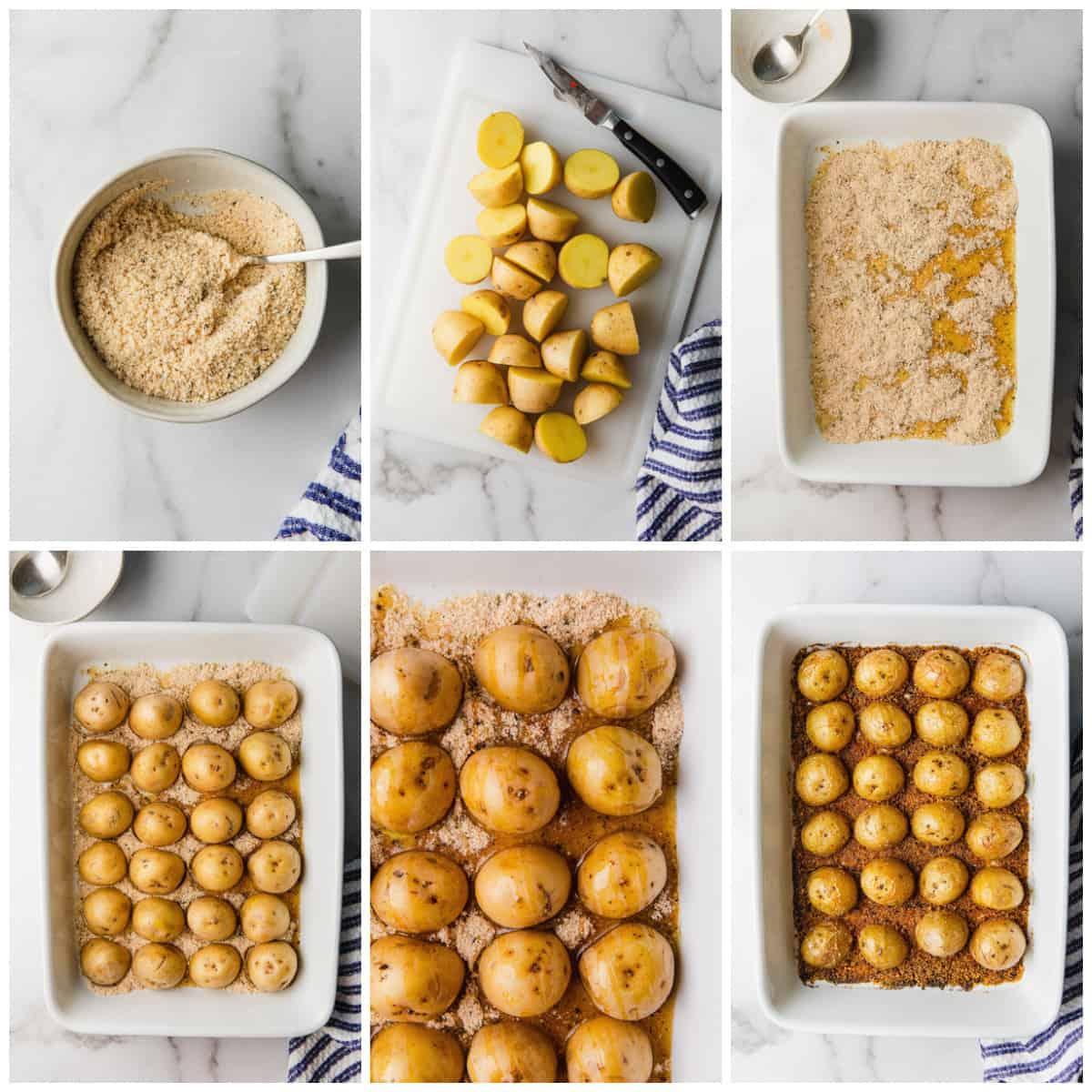 Step by step photos on how to make Crispy Parmesan Potatoes