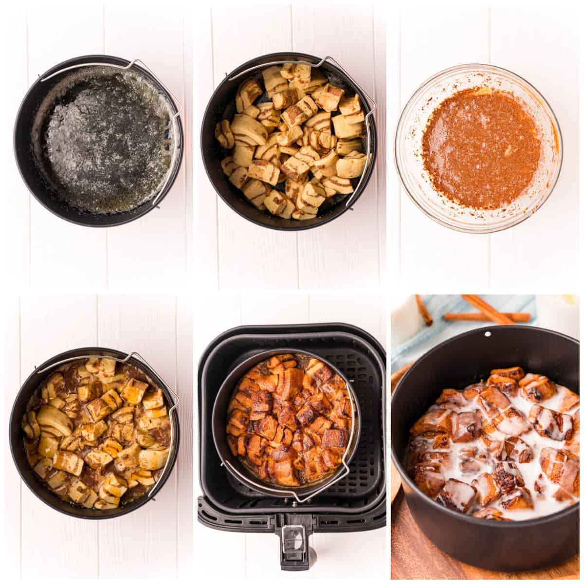 Step by step photos on how to make Air Fryer Cinnamon Roll Casserole