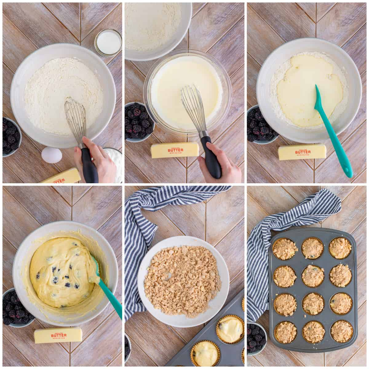 Step by step photos on how to make Blackberry Muffins