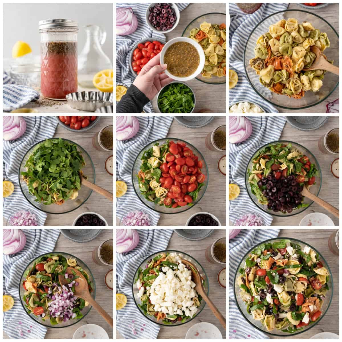 Step by step photos on how to make Greek Pasta Salad