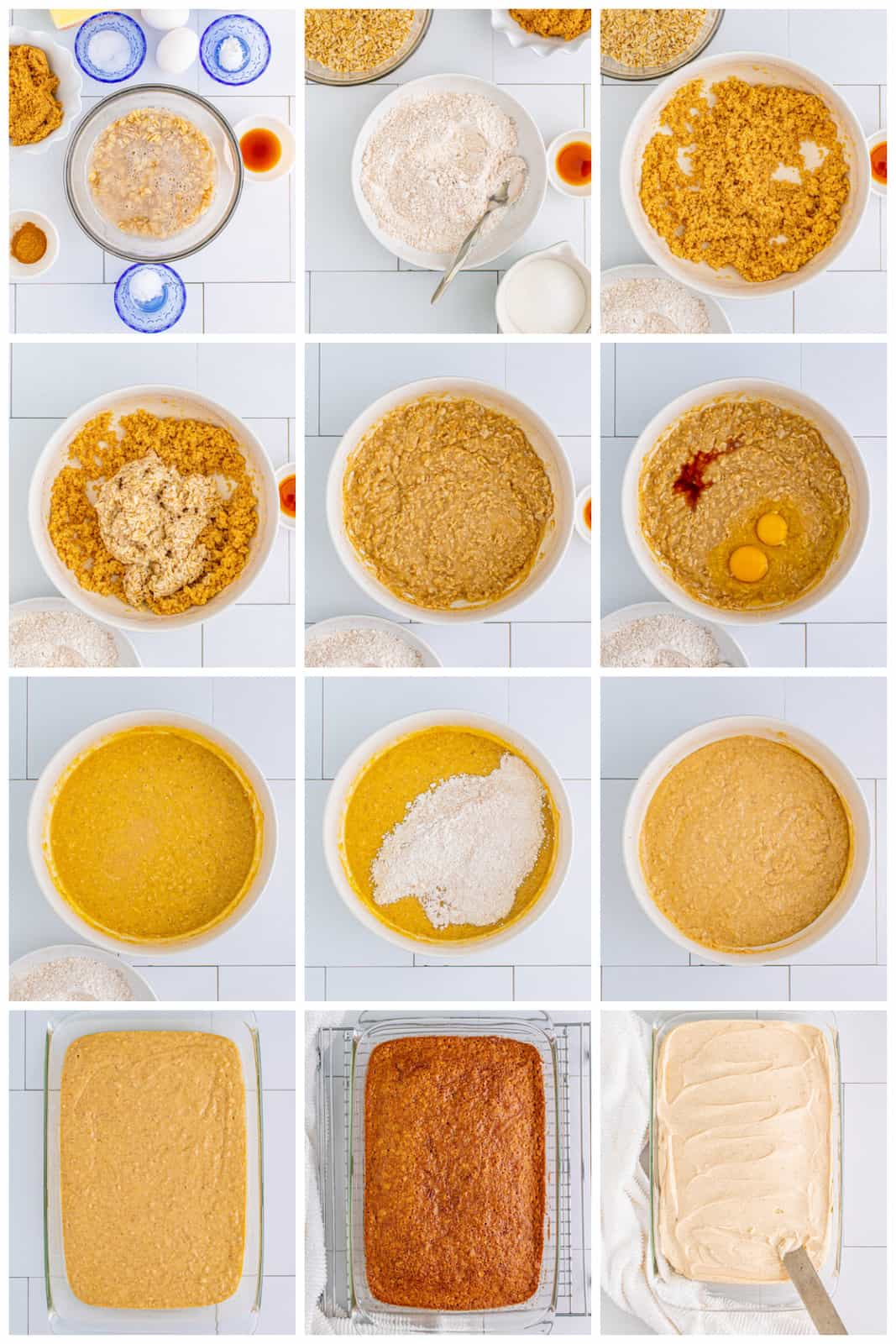 Step by step photos on how to make an Oatmeal Cake