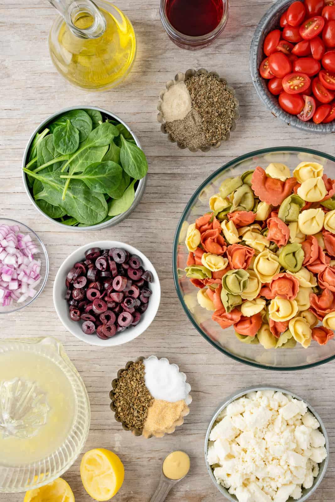 Ingredients needed to make Greek Pasta Salad