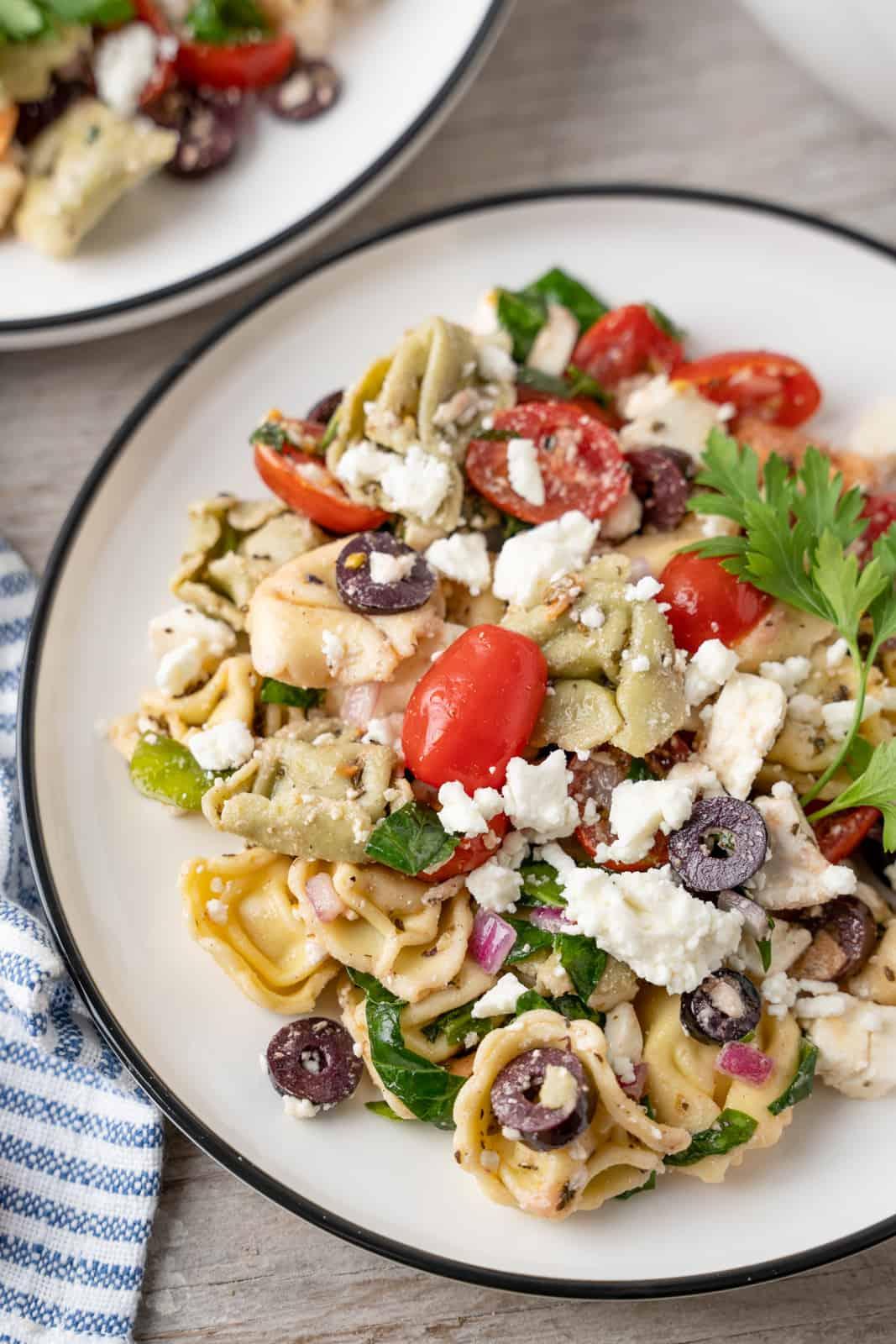 Overhead of Greek Pasta Salad on white plate