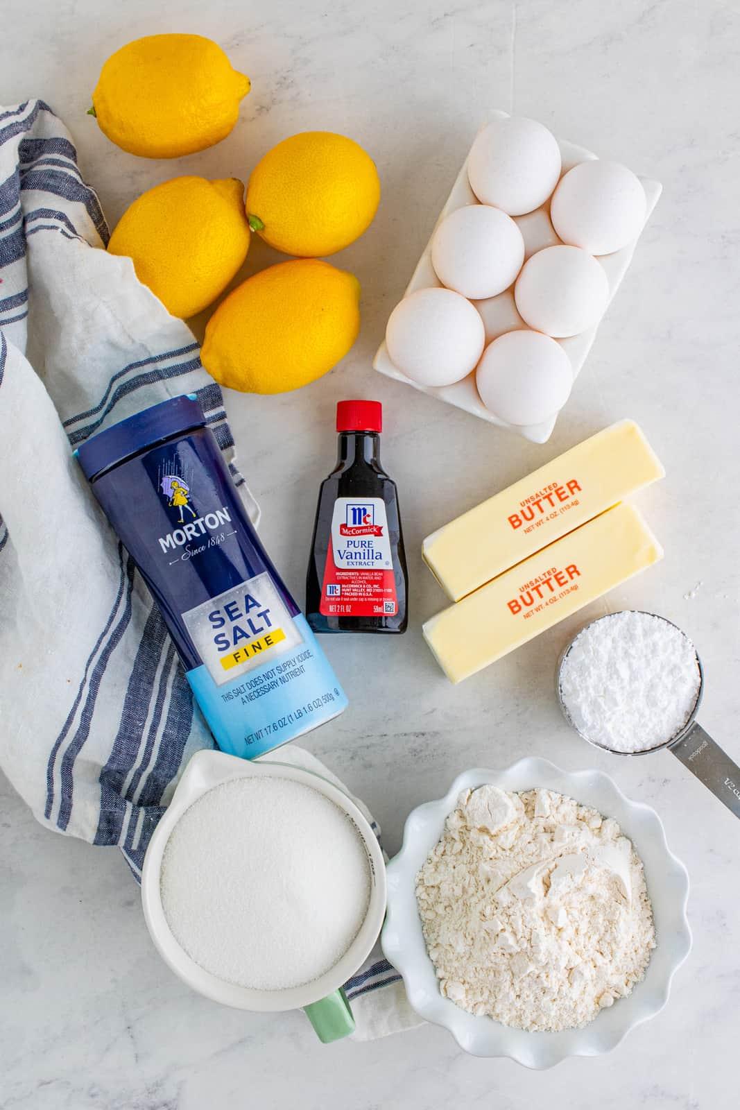 Ingredients needed to make a Lemon Tart