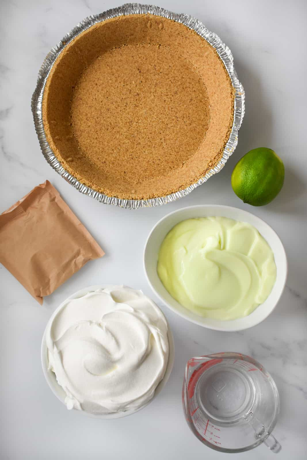 Ingredients needed to make a Lime Jello Pie