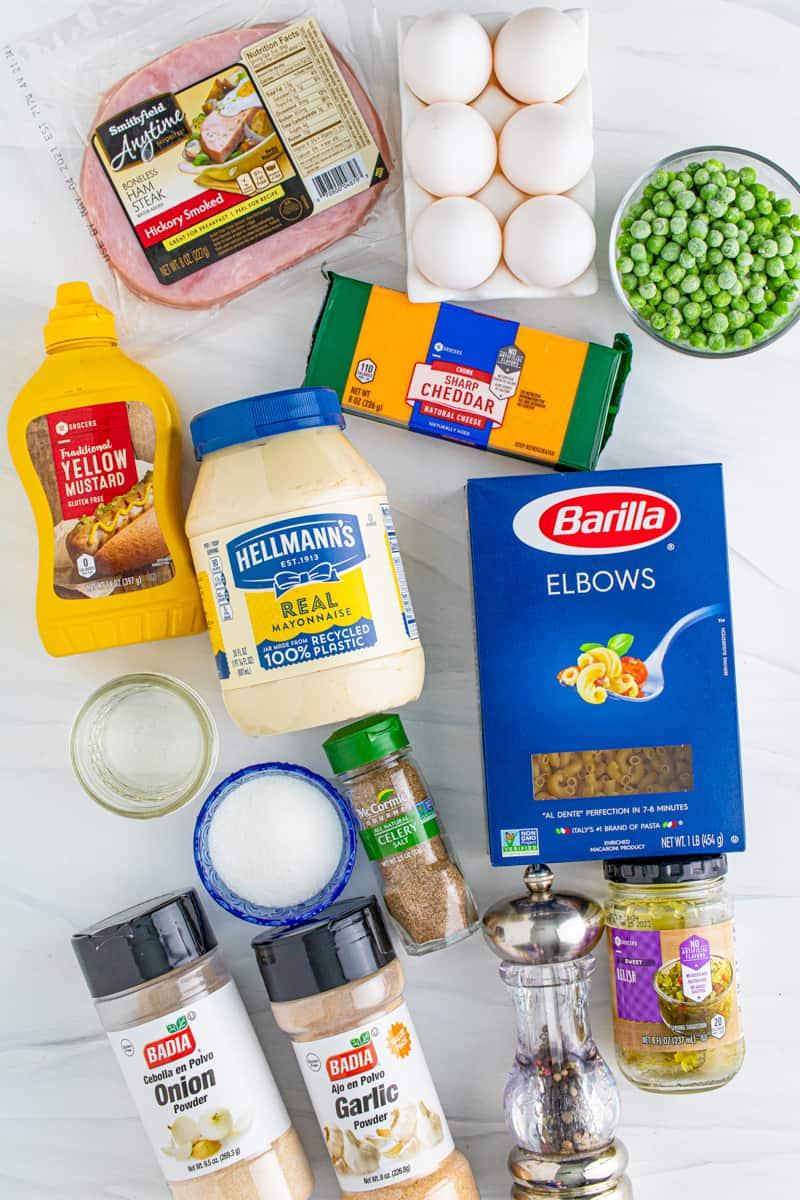 Ingredients needed to make a Macaroni Salad Recipe