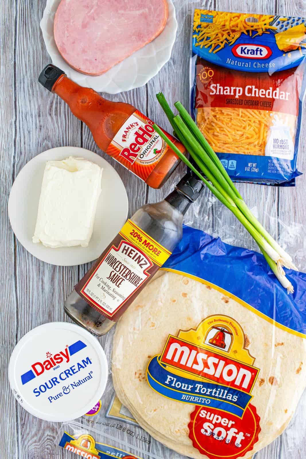 Ingredients needed to make Mississippi Sin Dip Pinwheels