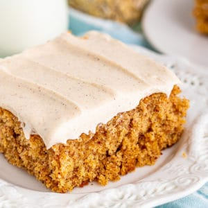 Oatmeal Cake close up square image on white plate