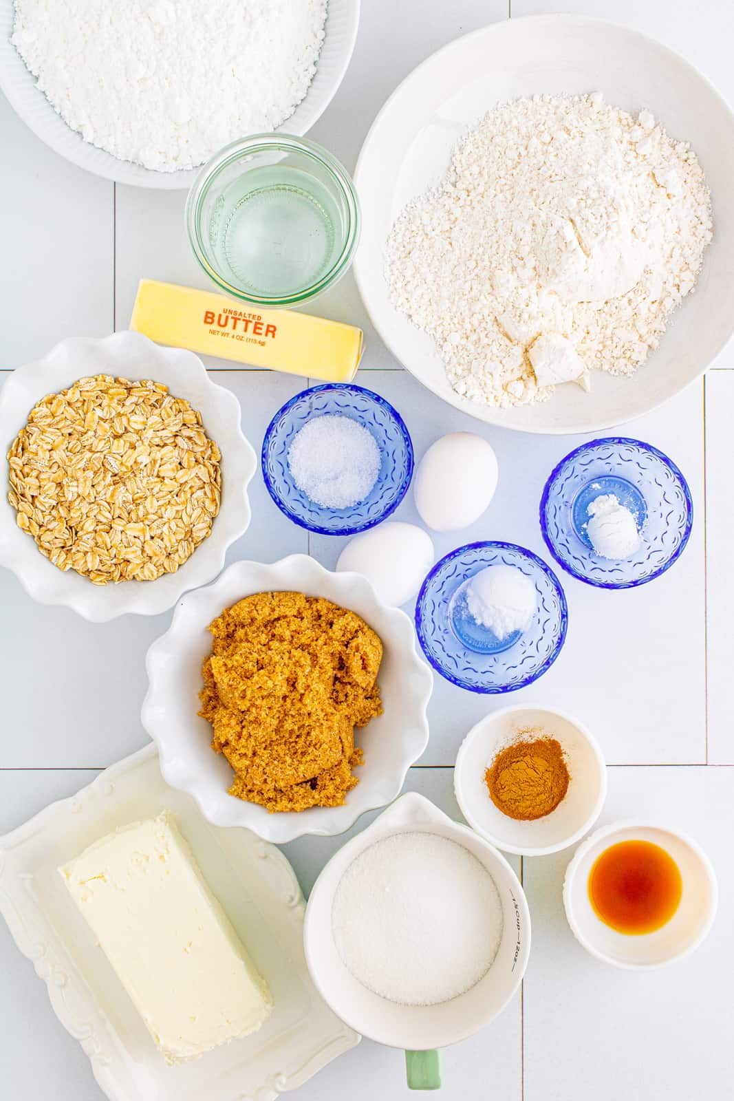 Ingredients needed to make Old-Fashioned Oatmeal Cake