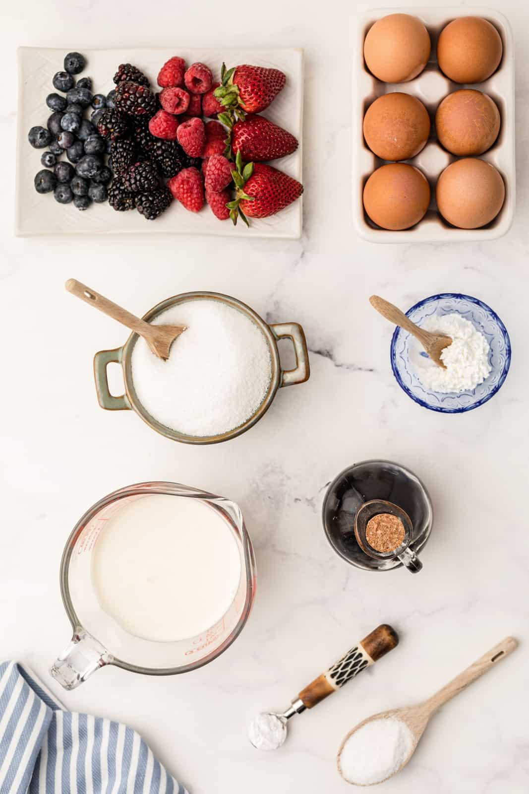 Ingredients needed to make a Pavlova