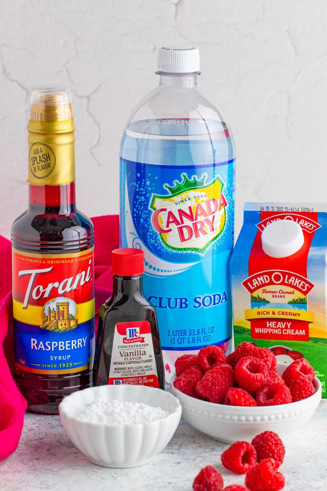 Ingredients needed to make Raspberry Italian Soda