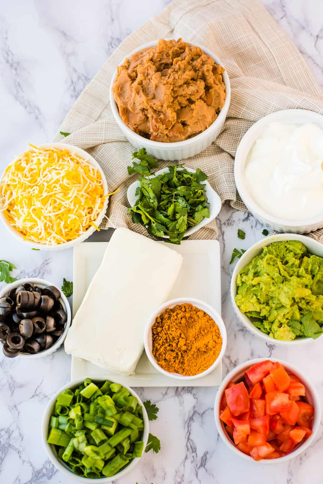 Ingredients needed to make 7 Layer Dip