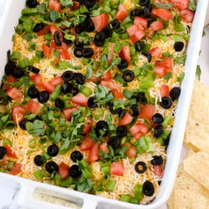 Square image overhead of 7 Layer Dip with chips on side