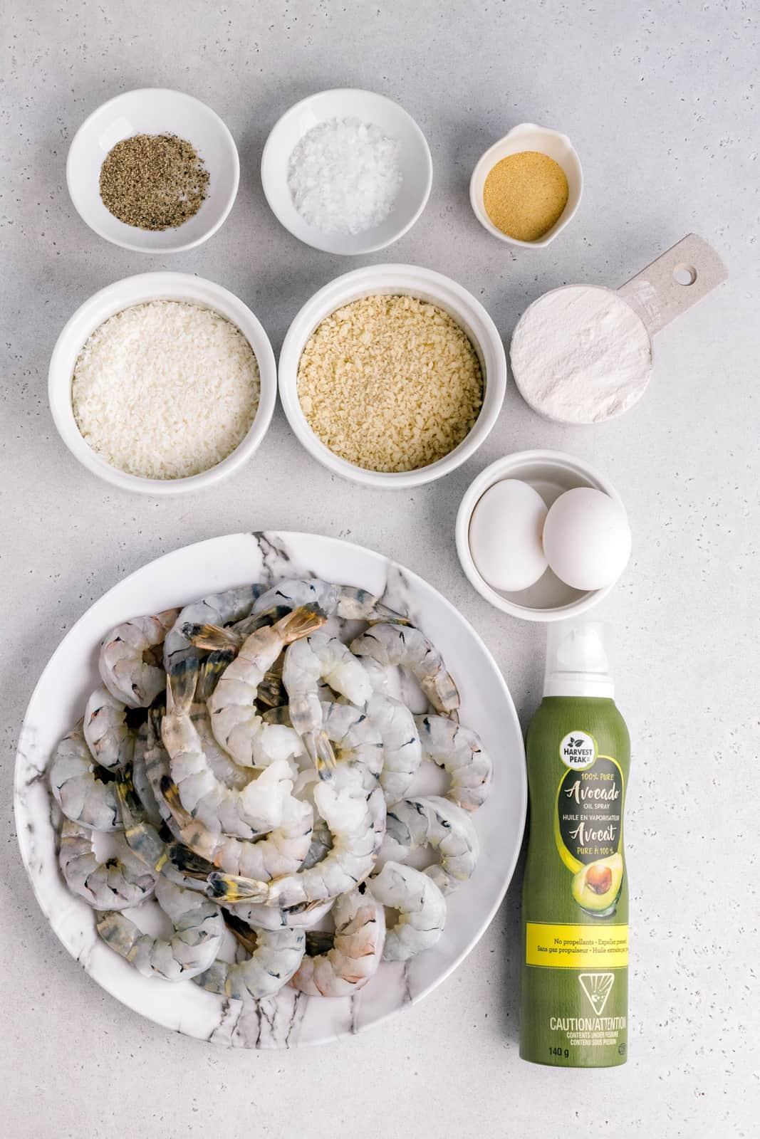 Ingredients needed to make Air Fryer Coconut Shrimp