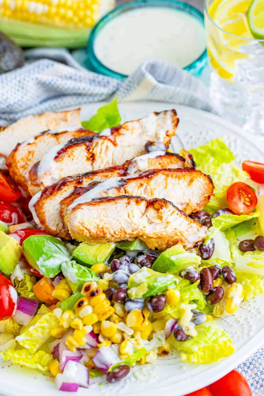 Plated BBQ Chicken Salad