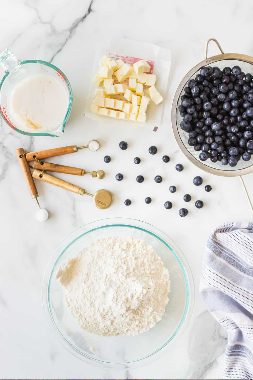 Ingredients needed to make Blueberry Biscuits