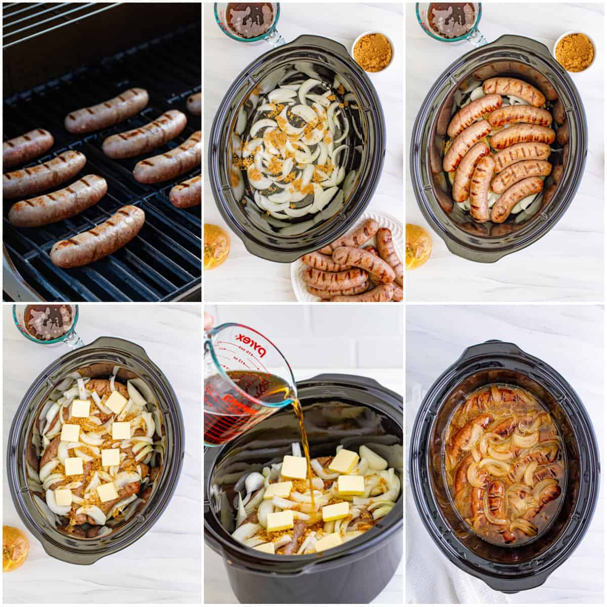 Step by step photos on how to make Slow Cooker Beer Brats