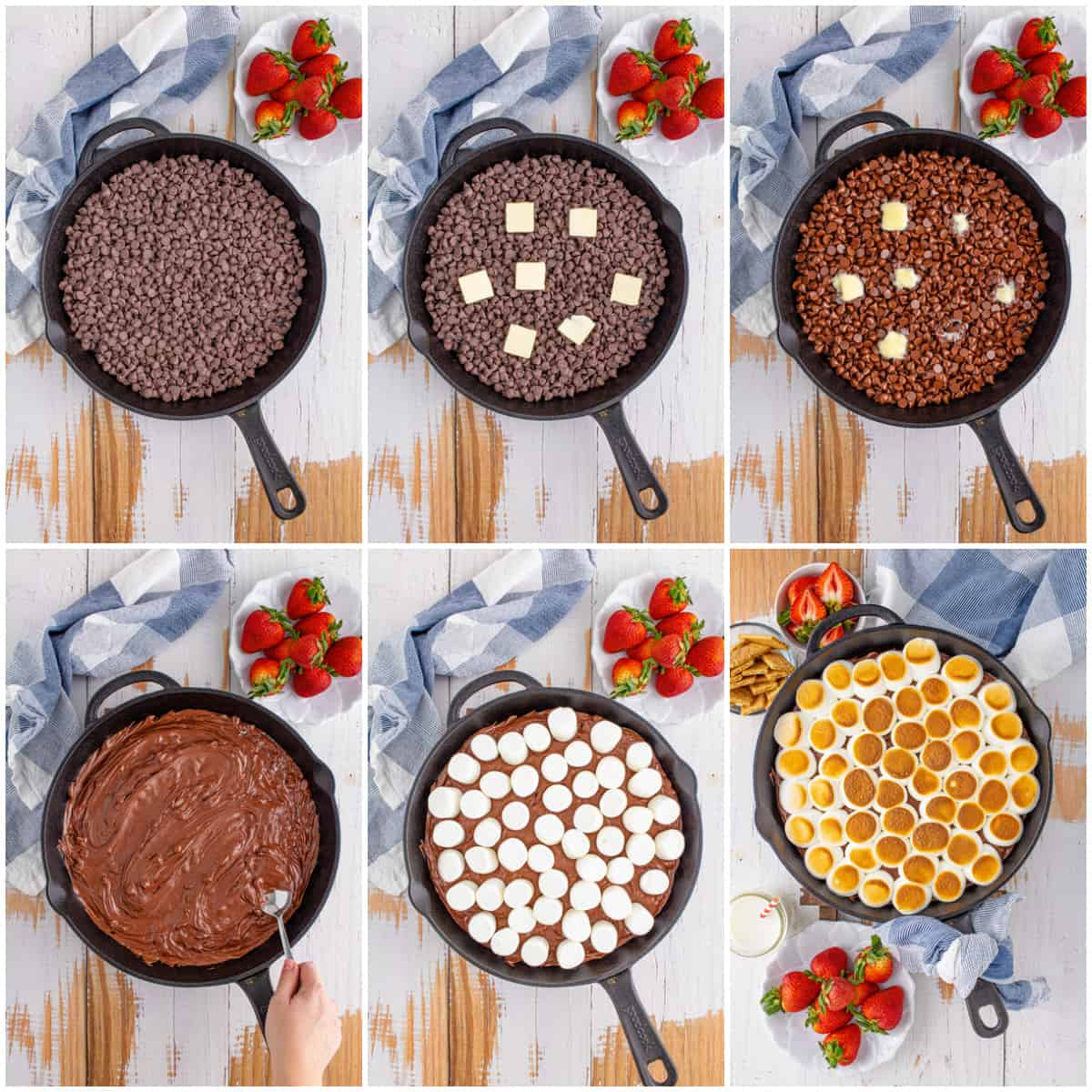 Step by step photos on how to make S'mores Dip