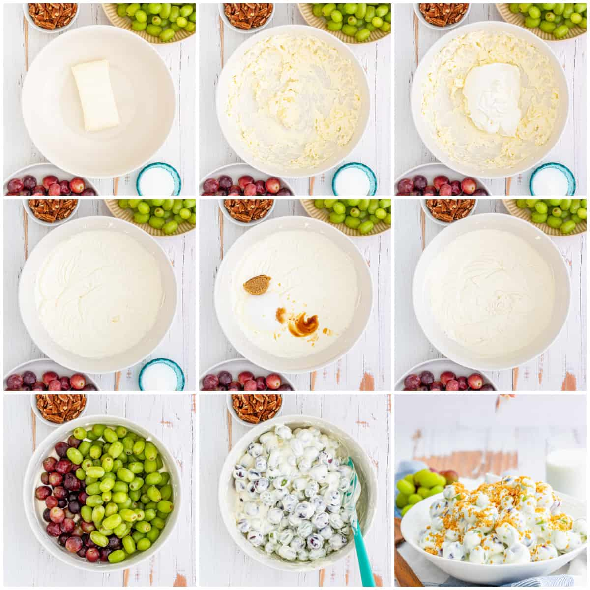 Step by step photos on how to make Grape Salad