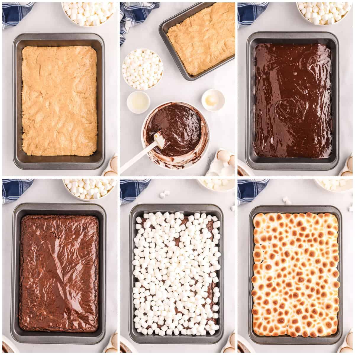 Step by step photo on how to make S'mores Bars
