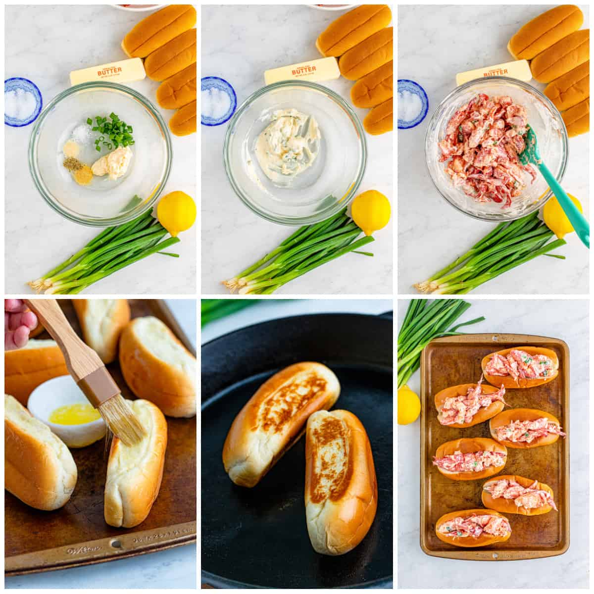 Step by step photos on how to make Lobster Rolls