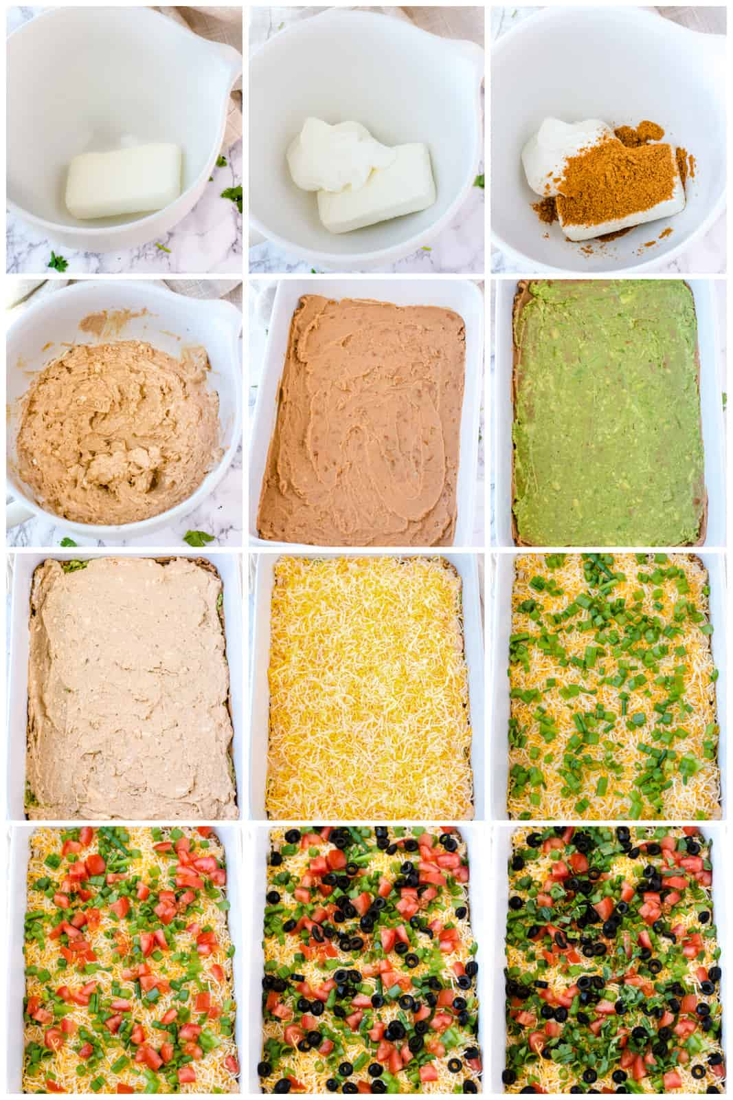 Step by step photos on how to make 7 Layer Dip