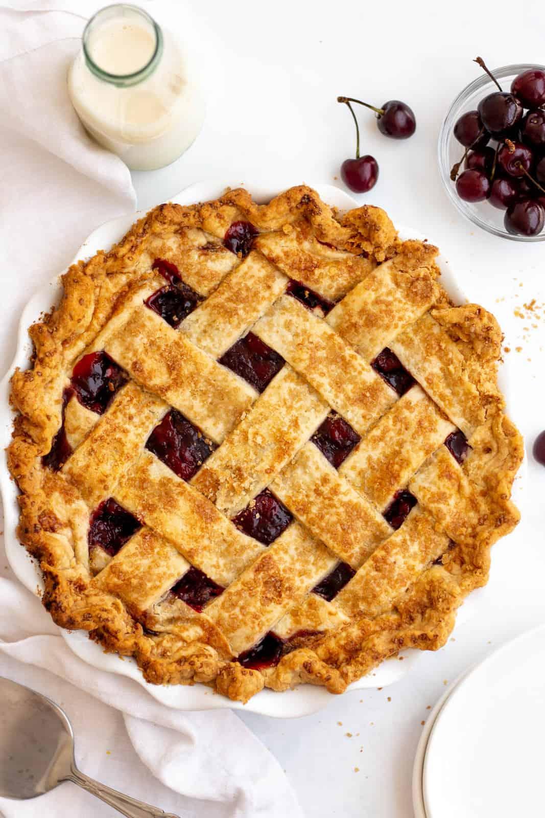 Finished Cherry Pie Recipe overhead photo