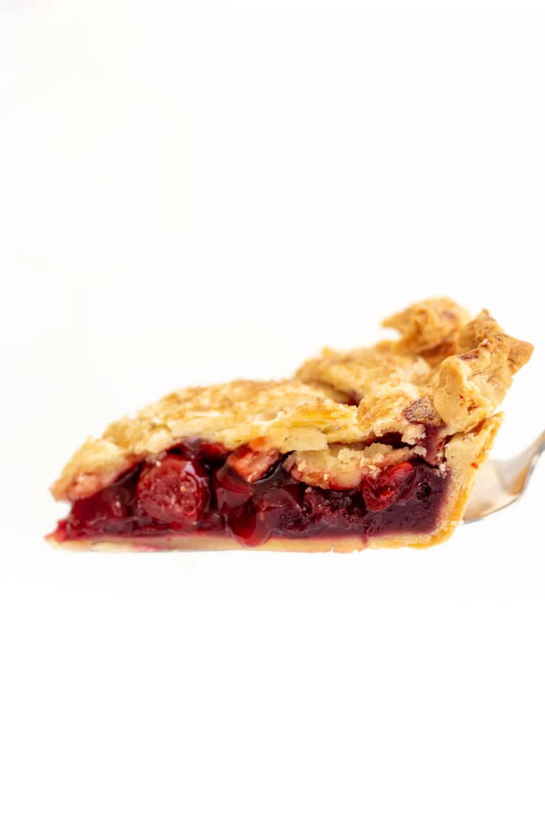 Slice of pie on pie server being held up
