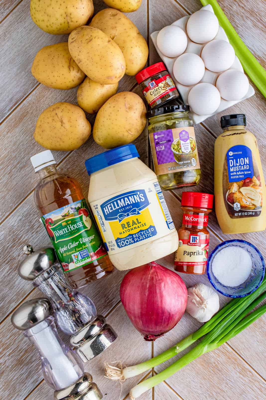Ingredients needed to make Potato Salad