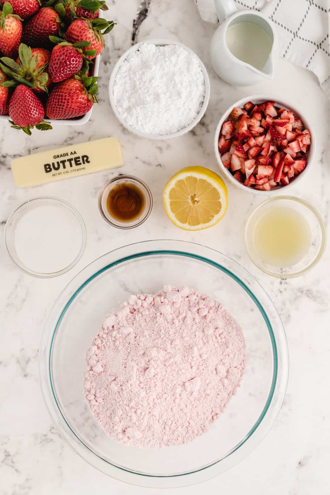 Ingredients needed to make Strawberry Cupcakes
