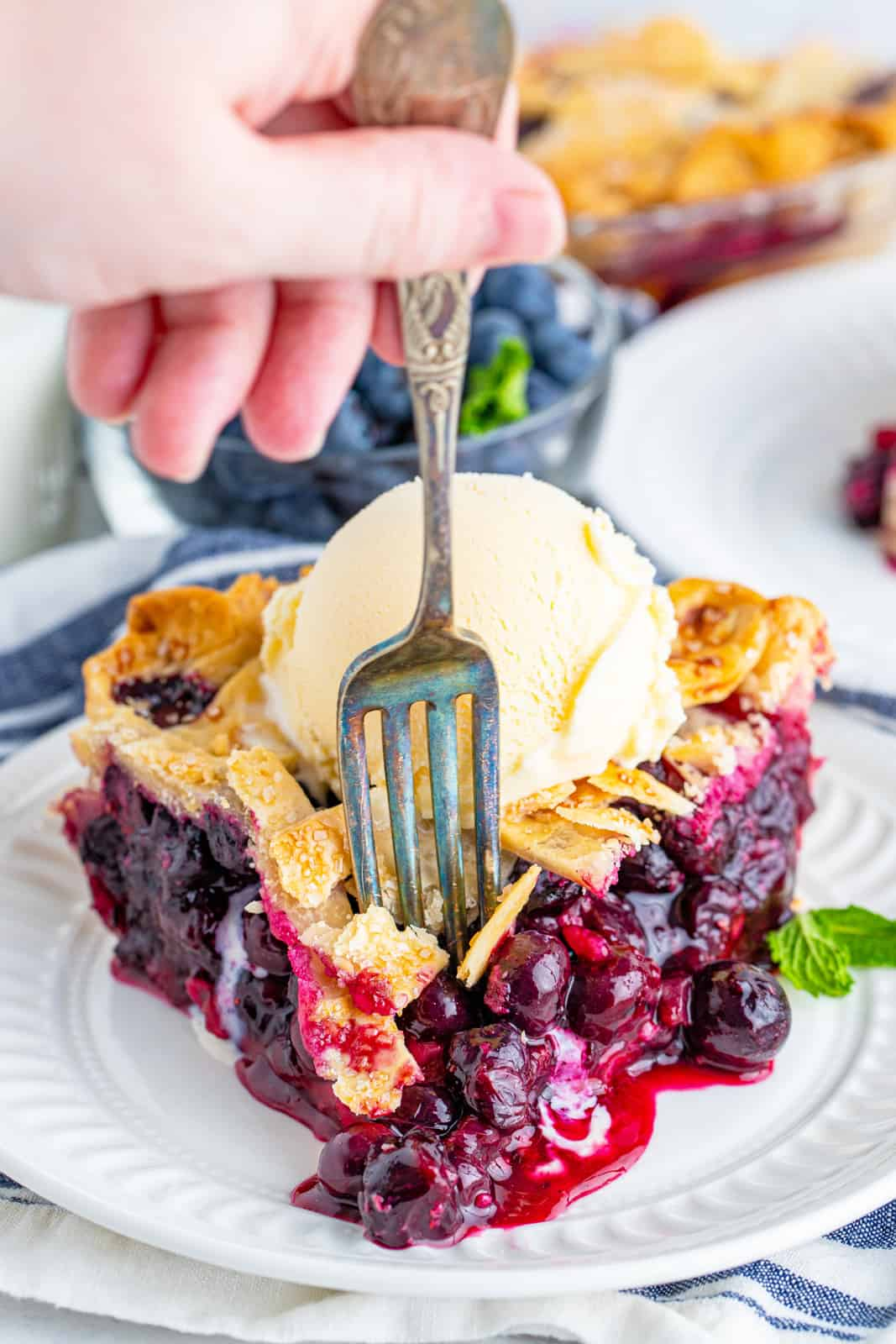 Fork going into Blueberry Pie Recipe