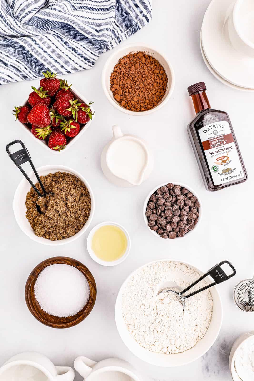 Ingredients needed for a Mug Brownie