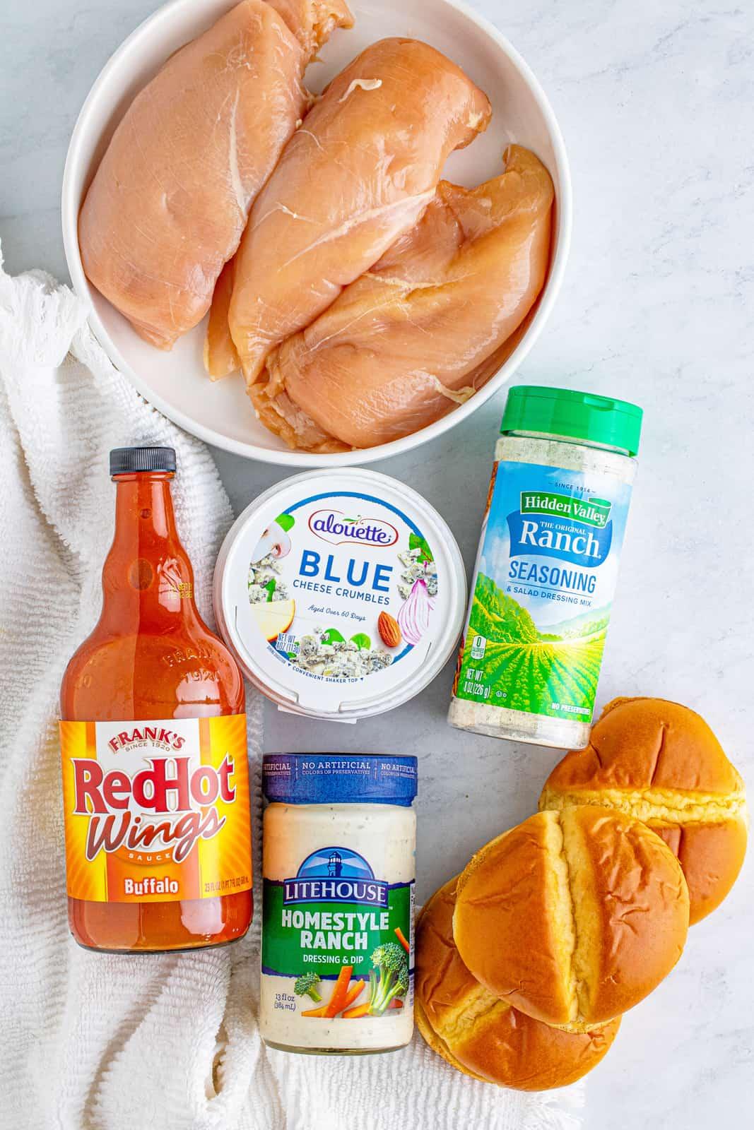 Ingredients needed to make Buffalo Chicken Sandwiches