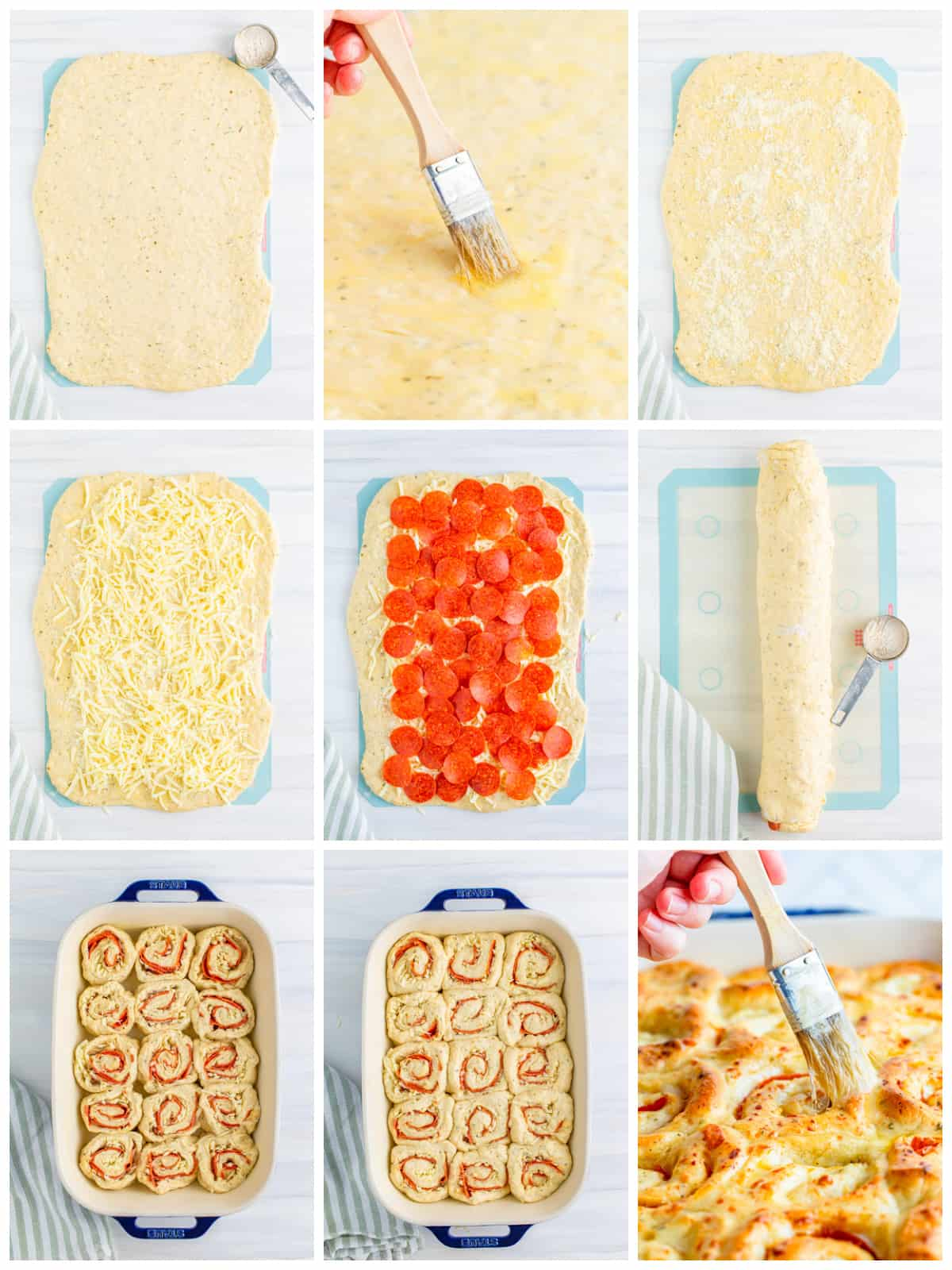 Step by step photos on how to assemble Pizza Rolls
