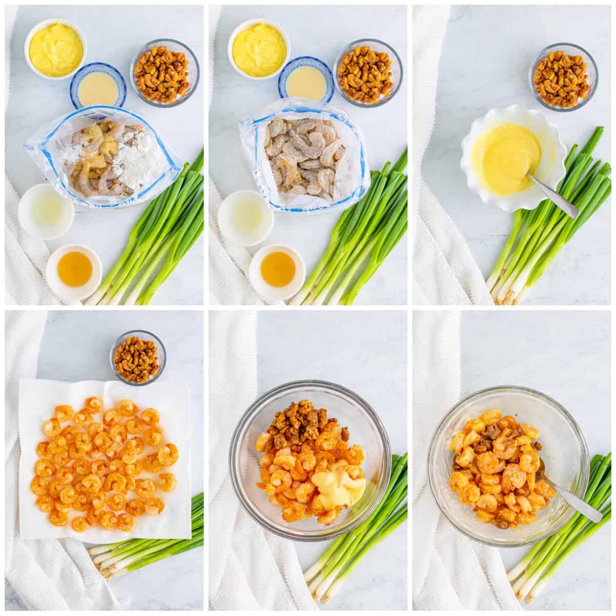 Step by step photos on how to make Honey Walnut Shrimp