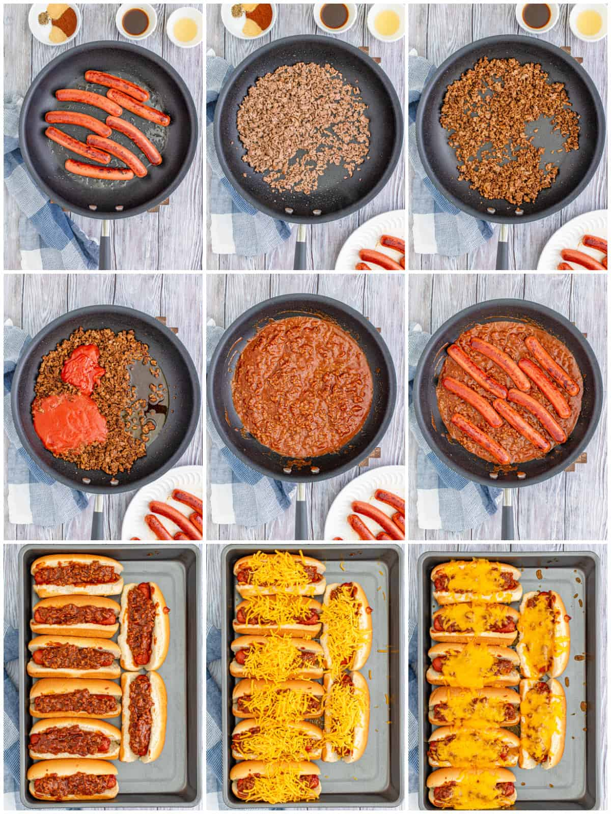Step by step photos on now to make Chili Dogs