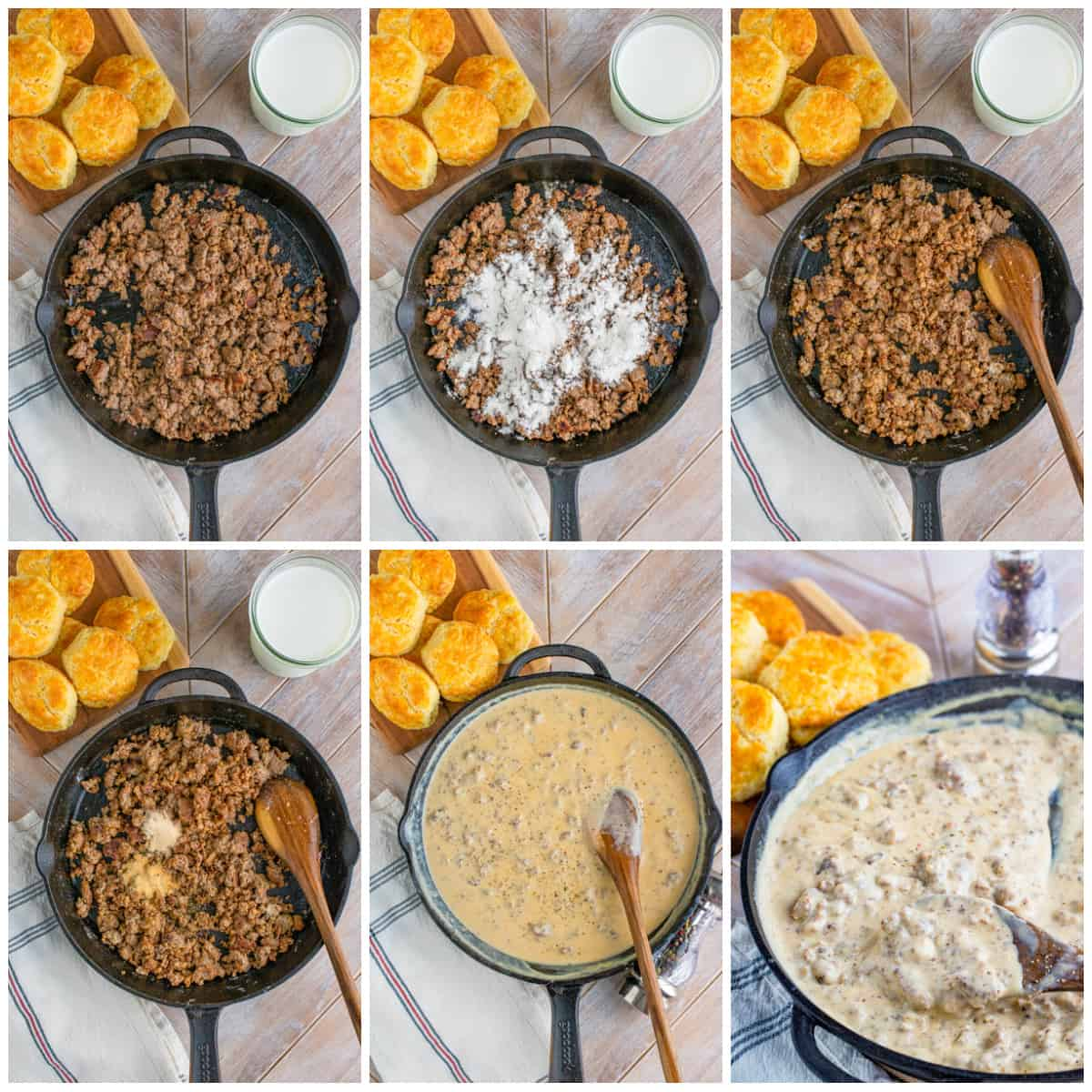 Step by step photos on how you make a Biscuits and Gravy Recipe