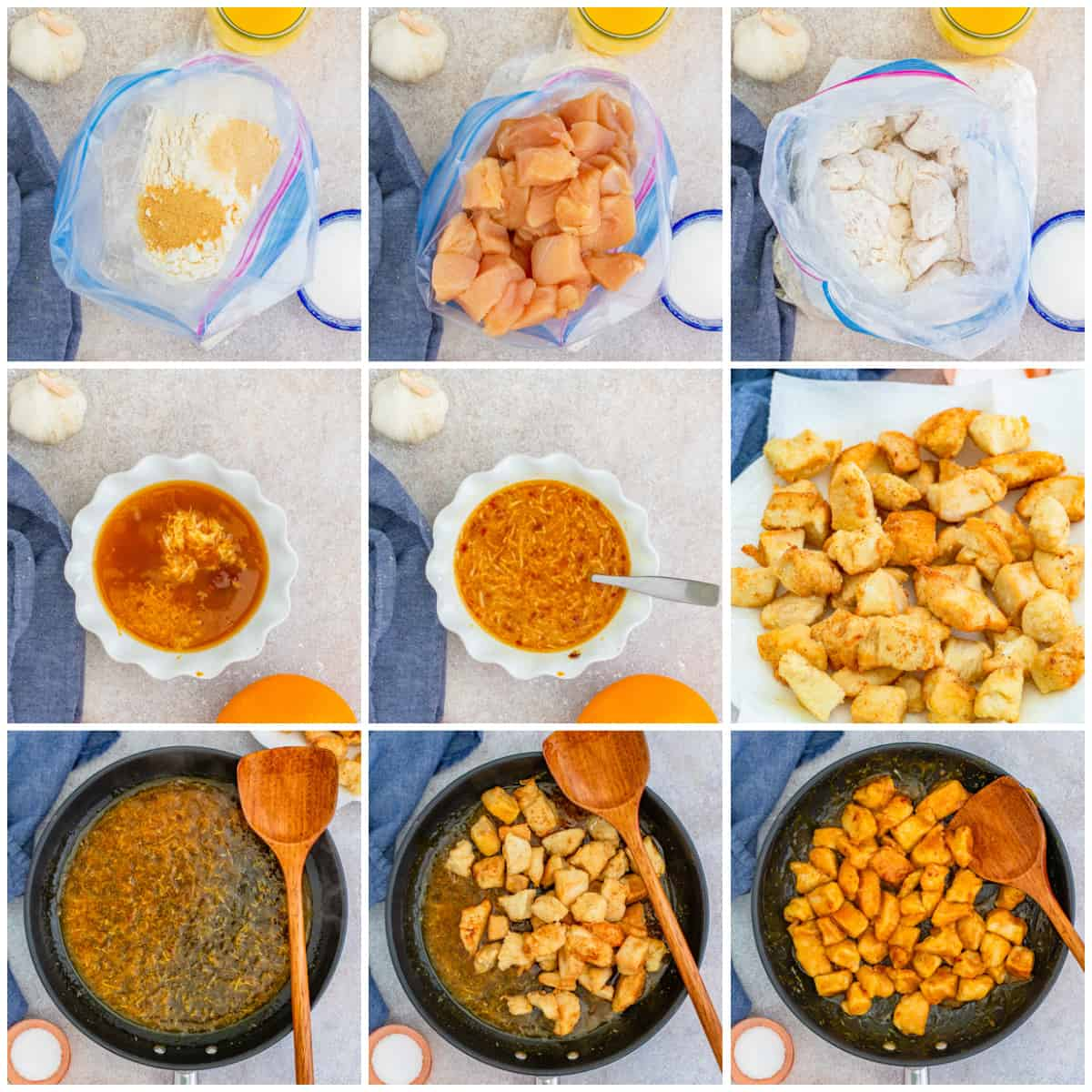 Step by step photos on how to make Copycat Panda Express Orange Chicken