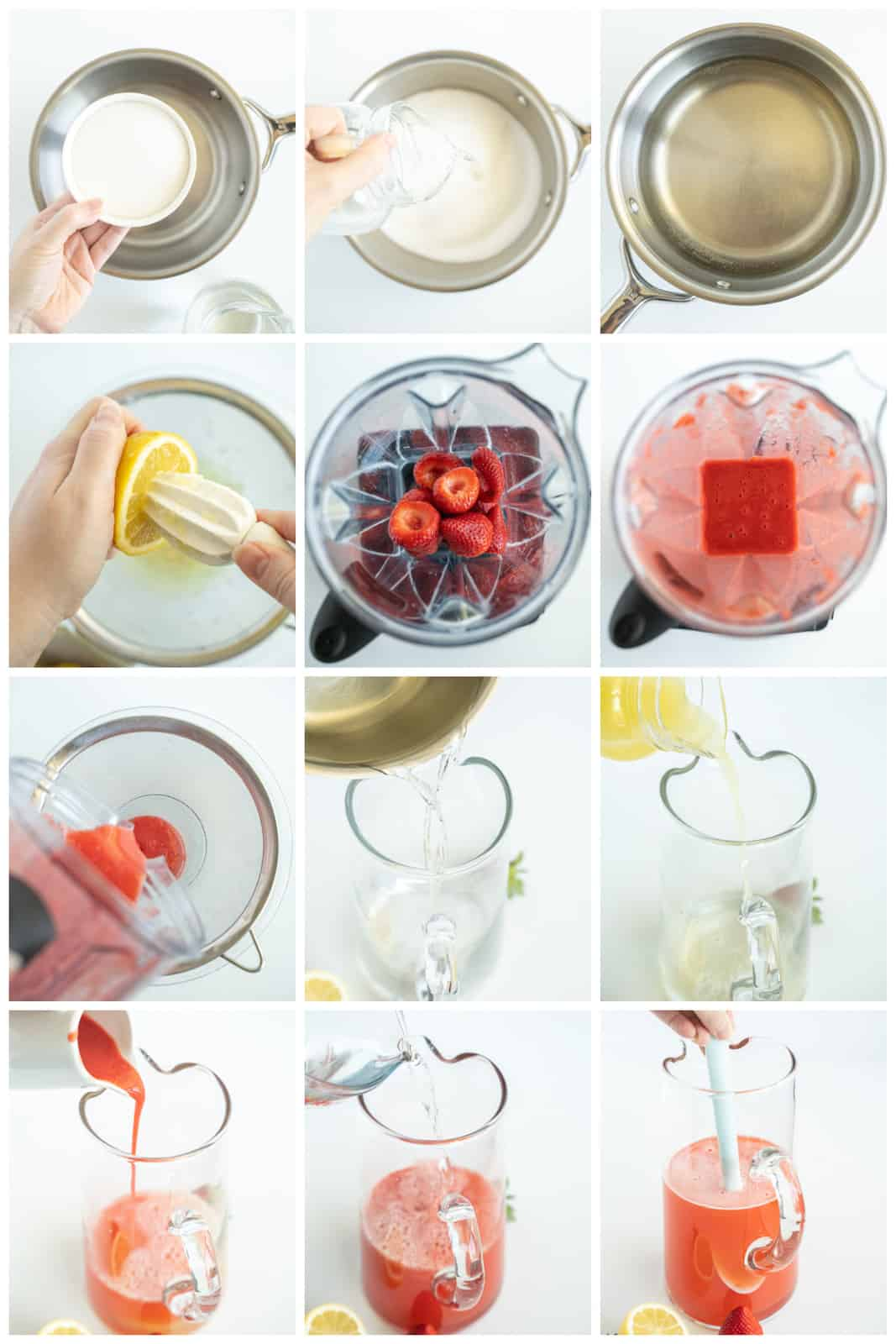 Step by step photos on how to make Strawberry Lemonade